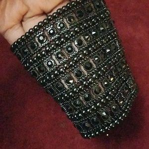 Black crystal & metal cuff